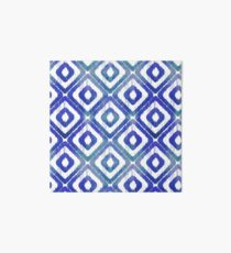 Navy Blue Ikat Pattern Art Board Print