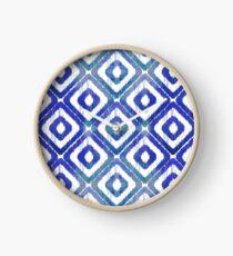 Navy Blue Ikat Pattern Clock