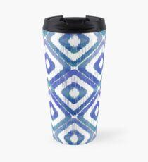 Navy Blue Ikat Pattern Travel Mug