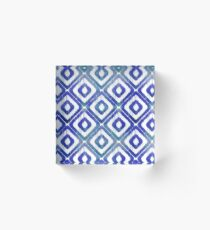 Navy Blue Ikat Pattern Acrylic Block