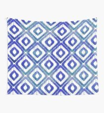 Navy Blue Ikat Pattern Wall Tapestry
