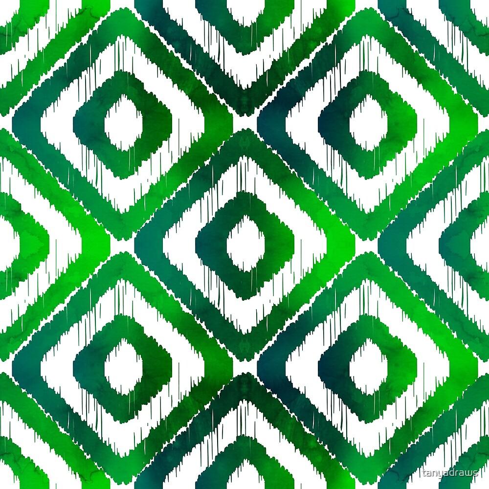 Emerald Green Ikat Pattern by tanyadraws