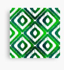 Emerald Green Ikat Pattern Canvas Print