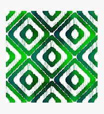 Emerald Green Ikat Pattern Photographic Print