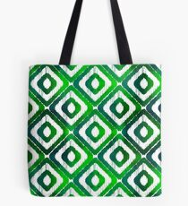 Emerald Green Ikat Pattern Tote Bag