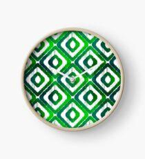 Emerald Green Ikat Pattern Clock