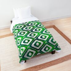 Emerald Green Ikat Pattern Comforter