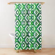 Emerald Green Ikat Pattern Shower Curtain