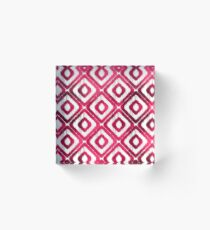 Ruby Red Ikat Pattern Acrylic Block
