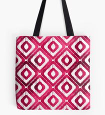 Ruby Red Ikat Pattern Tote Bag