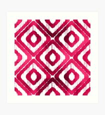 Ruby Red Ikat Pattern Art Print