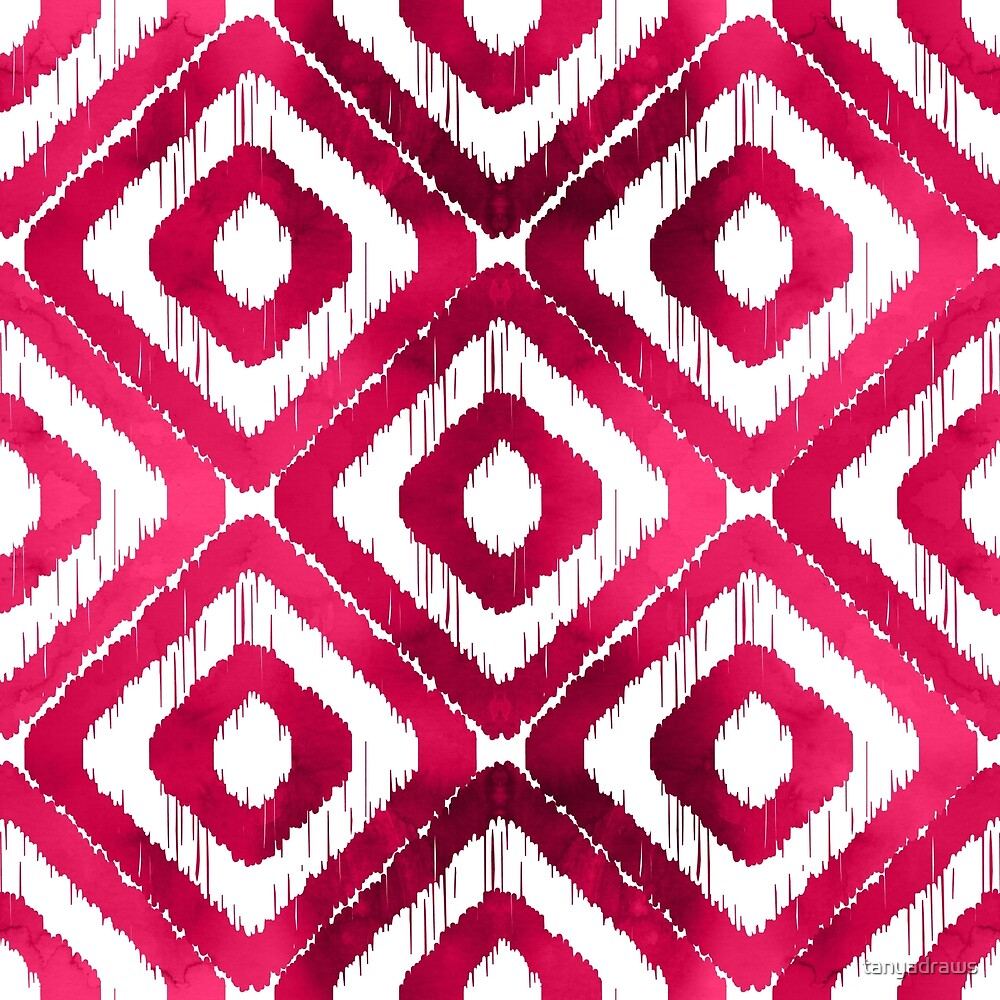 Ruby Red Ikat Pattern by tanyadraws