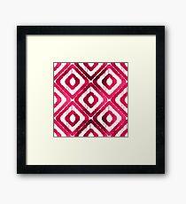 Ruby Red Ikat Pattern Framed Print