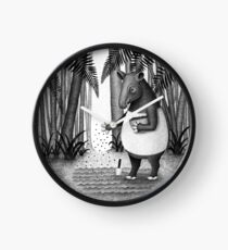 Tapirs are gardeners of forest | Black and White Illustration Clock
