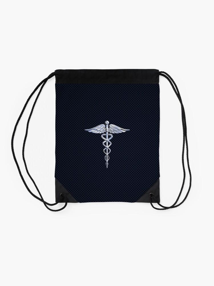 Alternate view of Chrome like Medical Caduceus Snakes Drawstring Bag