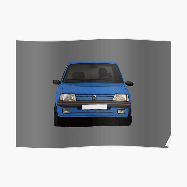 Trappe chaude Peugeot 205 GTi en virage bleue Poster