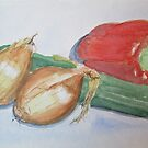 Pepper, Courgette and Onions by Geraldine M Leahy