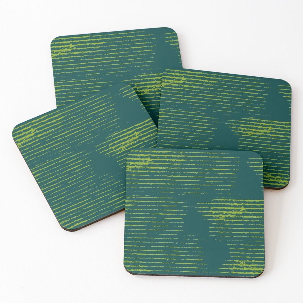 Emerald green grungy stripes Coasters (Set of 4)