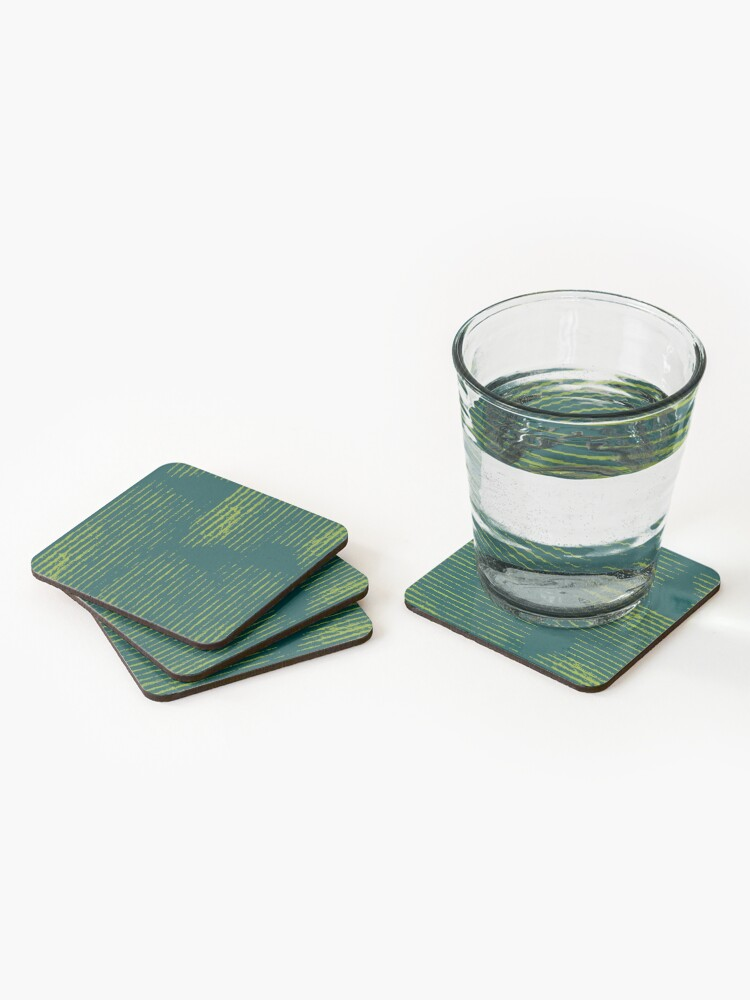 Alternate view of Emerald green grungy stripes Coasters (Set of 4)