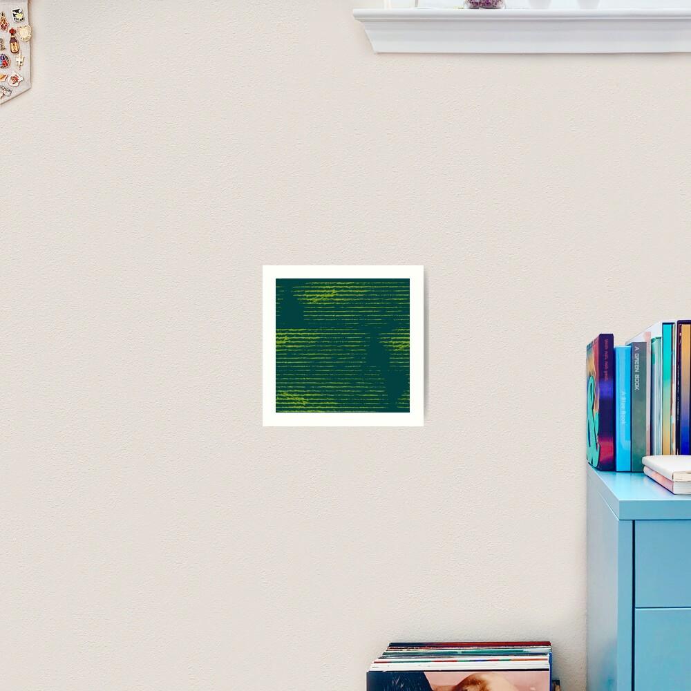 Emerald green grungy stripes Art Print