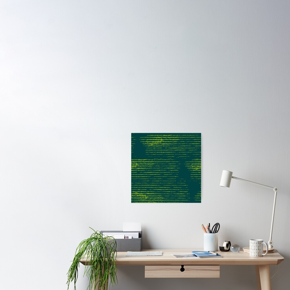 Emerald green grungy stripes Poster