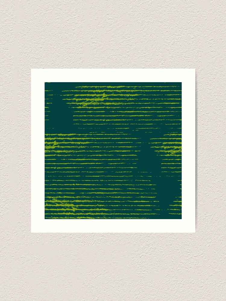 Alternate view of Emerald green grungy stripes Art Print
