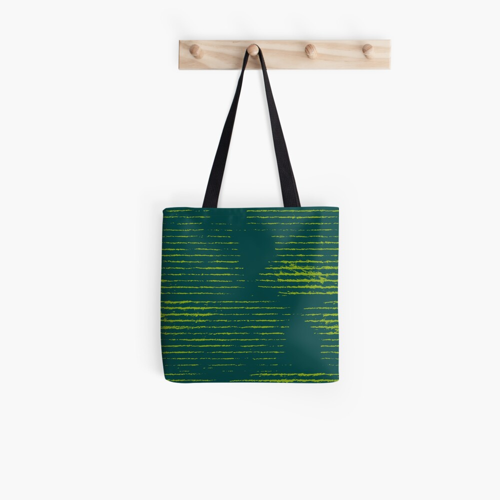 Emerald green grungy stripes Tote Bag