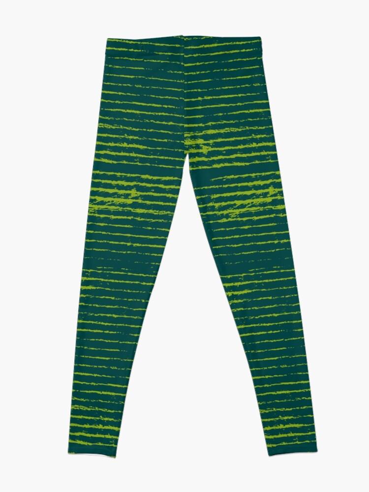Alternate view of Emerald green grungy stripes Leggings