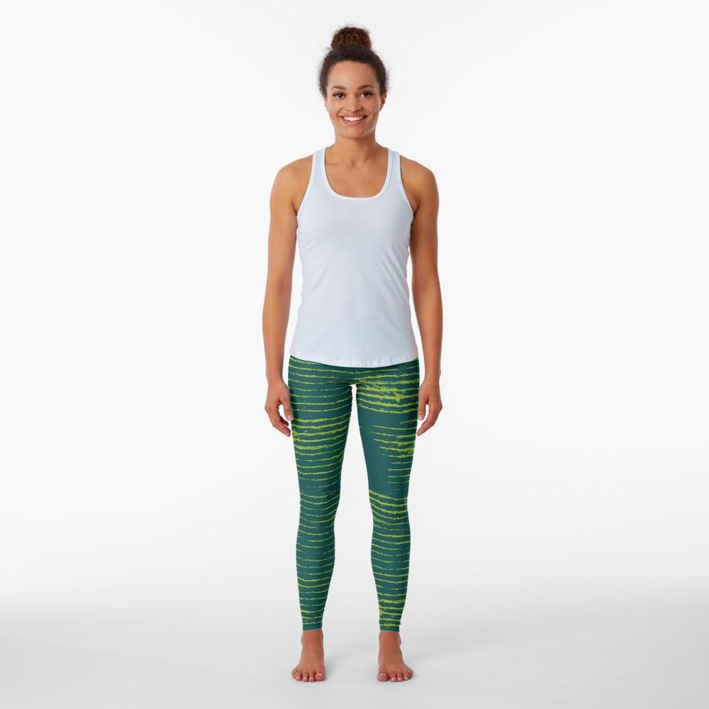 Emerald green grungy stripes Leggings