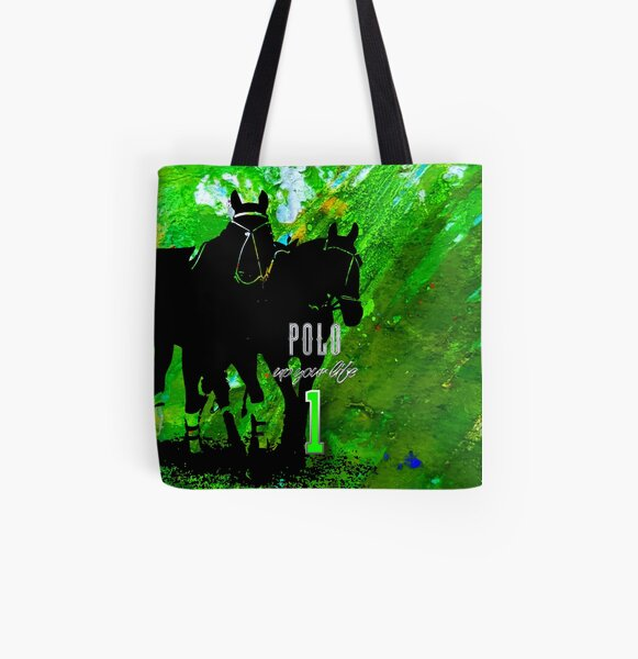 polo horses green All Over Print Tote Bag