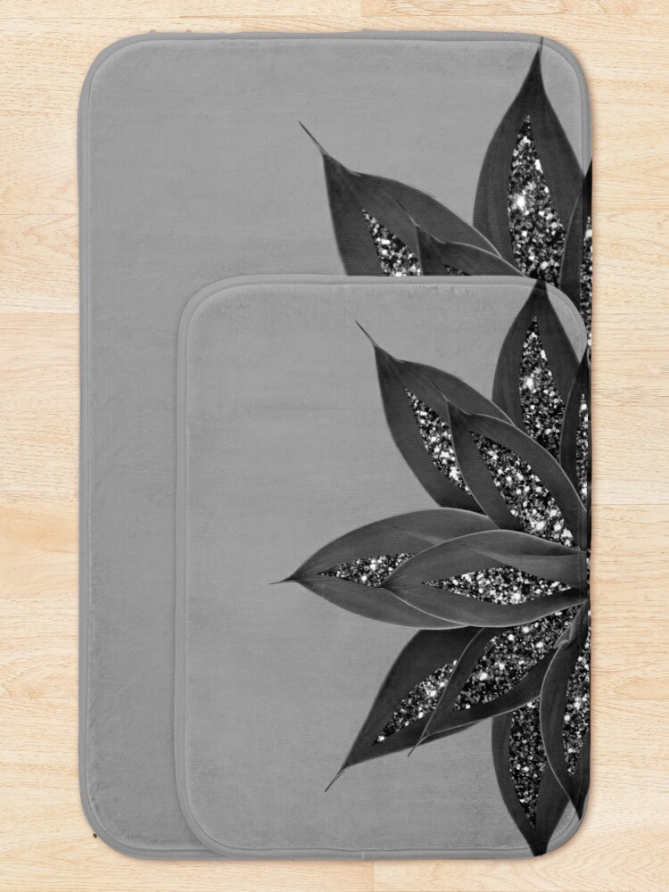 Alternate view of Gray Black Agave with Black Silver Glitter #3 #shiny #tropical #decor #art  Bath Mat