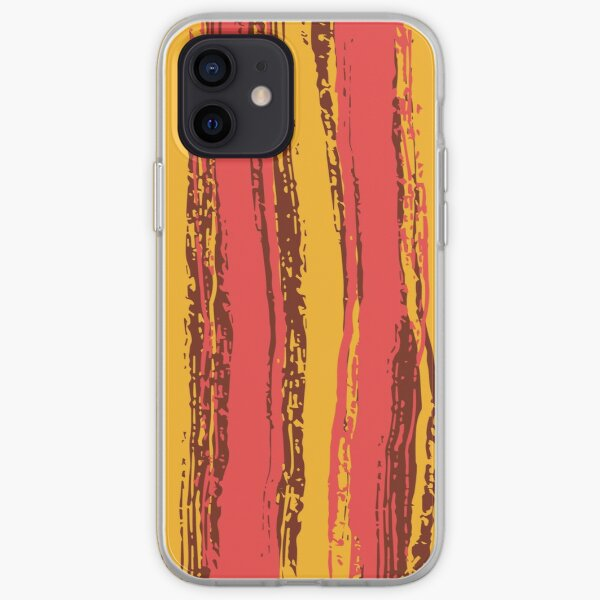 Salmon Pink, Brown & Dark Yellow Stripes iPhone Soft Case