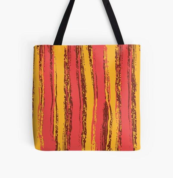 Salmon Pink, Brown & Dark Yellow Stripes All Over Print Tote Bag