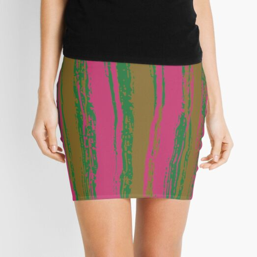 Magenta & Green Stripes Mini Skirt
