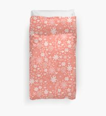 Cute Florals in Coral Pink Duvet Cover