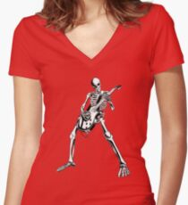 Skeleton Bones Dead Electric Guitar Player Women's Fitted V-Neck T-Shirt