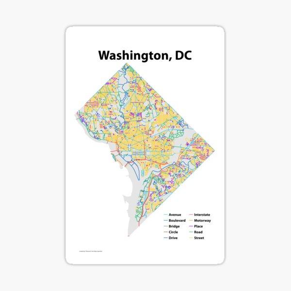 Washington, DC Streets Map Sticker