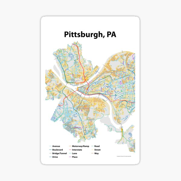 Pittsburgh, PA Streets Map Sticker