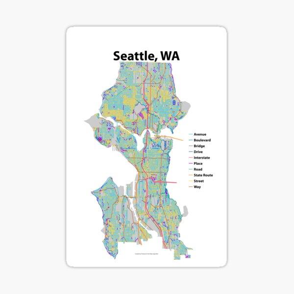Seattle, WA Streets Map Sticker