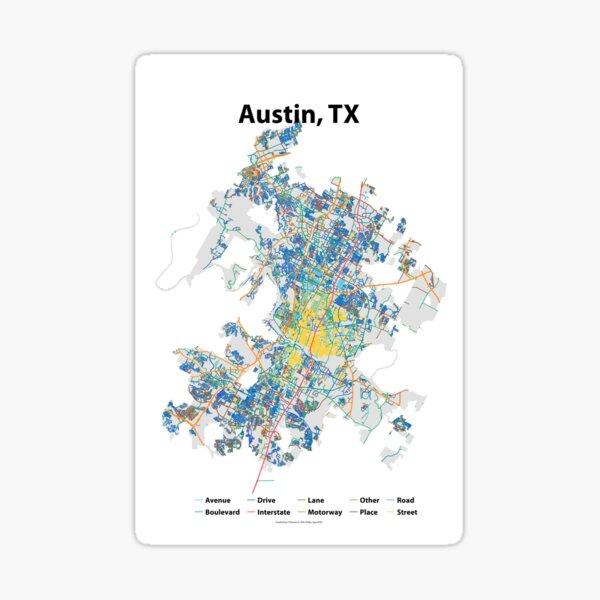 Austin, TX Streets Map Sticker