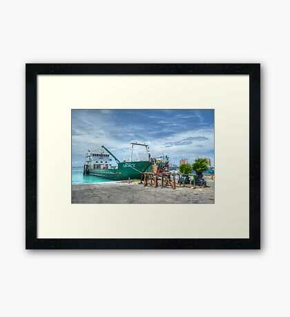 Cargo boat at Potter's Cay loading freight to deliver in the Family Island - Nassau, The Bahamas Framed Print