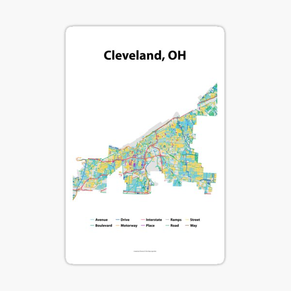 Cleveland, OH Streets Map Sticker