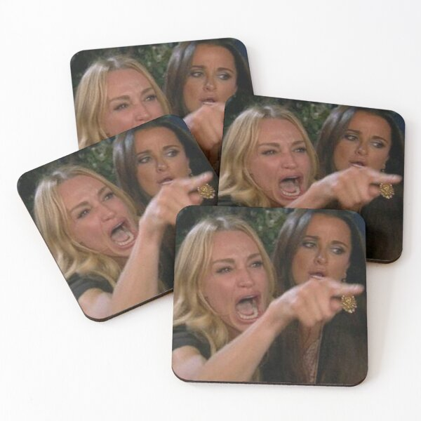 Woman Yelling At A Cat Meme Coasters (Set of 4)