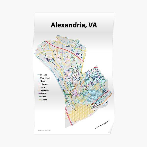 Alexandria, VA Streets Map Poster
