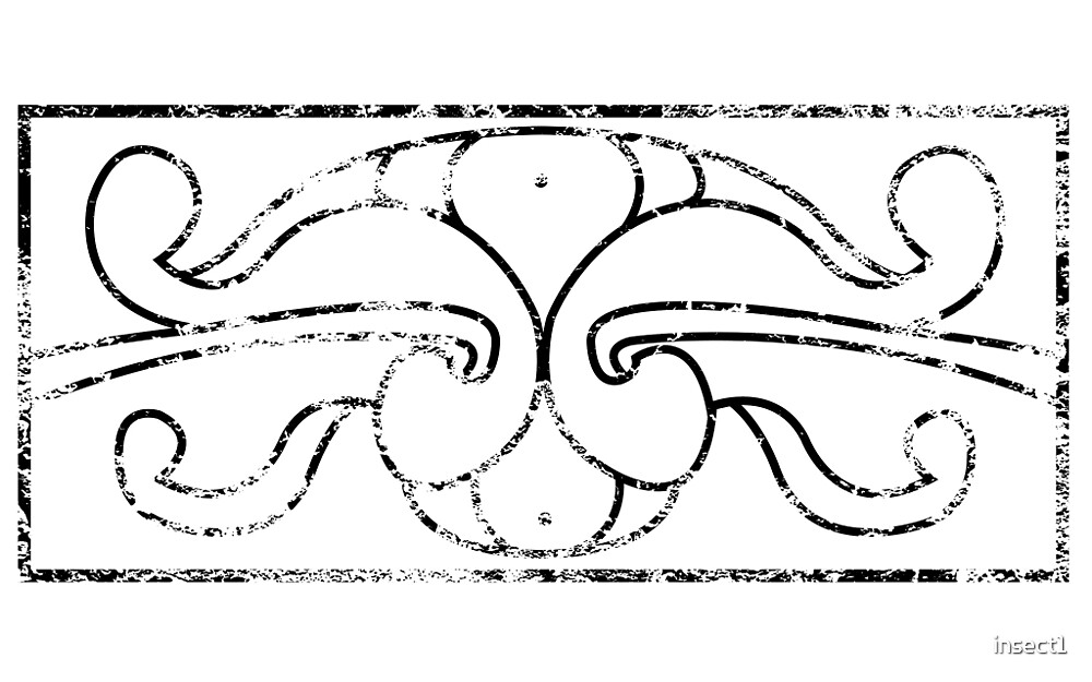 Pictish Rectangle (Shield or Book Cover) - Weathered by insect1