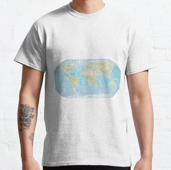Physical Map of the World 2015 Classic T-Shirt