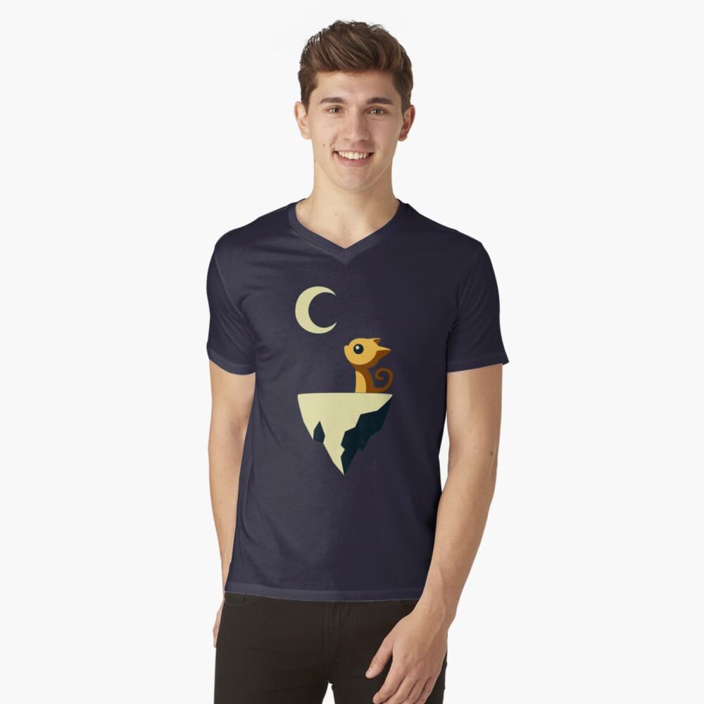 Mond Katze T-Shirt mit V-Ausschnitt