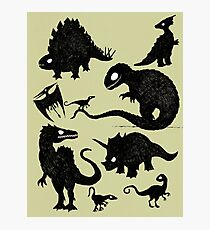 Silhouetted Dinosaurs Photographic Print