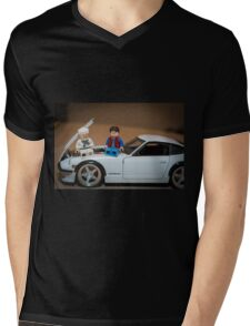 Doc and Marty on a Z Mens V-Neck T-Shirt