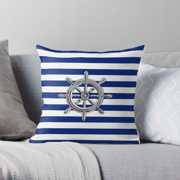 Chrome Style Nautical Wheel Applique Throw Pillow